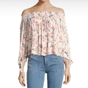 Free People floral print off shoulder tunic top